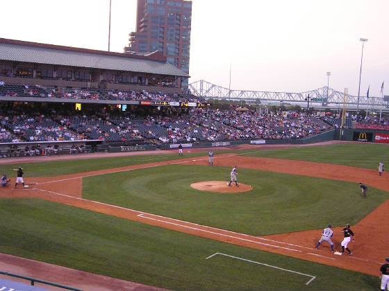 Safe at first - Louisville Slugger Field